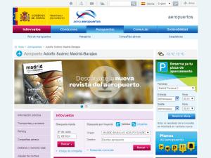 Página web del Aeropuerto Adolfo Suárez Madrid-Barajas en el sitio de AENA Aeropuertos