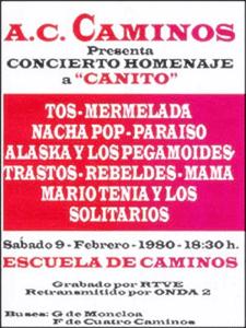 Concierto Homenaje a 'Canito'   Escuela de Caminos   Madrid   9 de febrero de 1980   Cartel