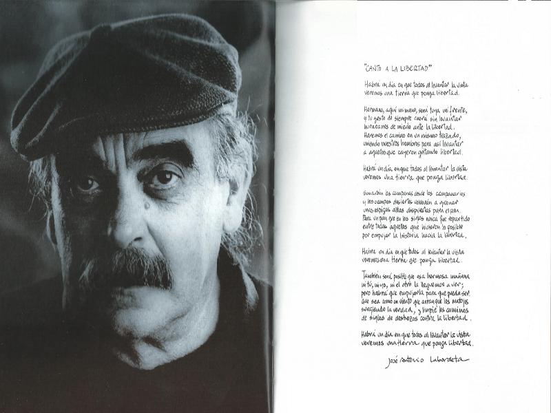 José Antonio Labordeta (retrato de Gonzalo Bullón) y letra manuscrita de 'Canto a la Libertad'