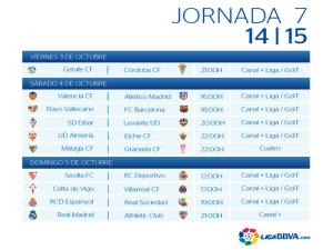 Calendario | Jornada Séptima | Liga BBVA | Temporada 2014-2015 | 3, 4 y 5 de octubre de 2014