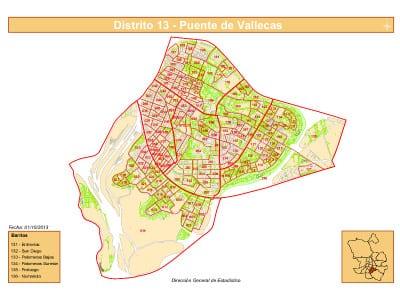 Plano con los 6 barrios del Distrito de Puente de Vallecas de la ciudad de Madrid   Fuente: Dirección General de Estadística del Ayuntamiento de Madrid