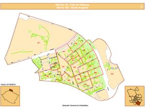 Plano del Barrio de Santa Eugenia del Distrito Villa de Vallecas de Madrid   Fuente: Dirección General de Estadística del Ayuntamiento de Madrid