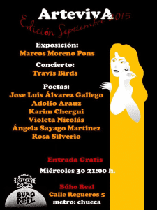 ArtevivA Septiembre 2015   Sala Búho Real   Madrid   Miércoles 30 de septiembre de 2015   21:00 horas   Cartel