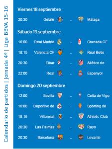 Calendario de partidos   Jornada 4ª   Liga BBVA 15-16   Del 18 al 20 de septiembre de 2015