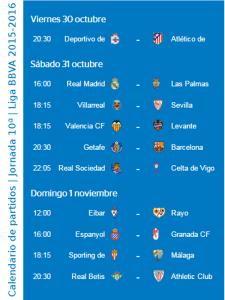 Calendario de partidos | Jornada 10ª | Liga BBVA | Temporada 2015-2016 | Del 30 de octubre al 1 de noviembre de 2015