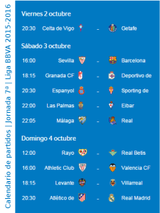 Calendario de partidos | Jornada 7ª | Liga BBVA | Temporada 2015-2016 | Del 2 al 4 de octubre de 2015