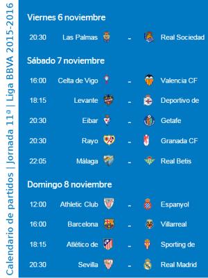 Calendario de partidos   Jornada 11ª   Liga BBVA   Temporada 2015-2016   Del 6 al 8 de noviembre de 2015