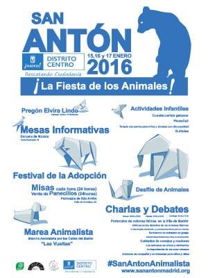 Fiestas San Antón 2016 | 'La fiesta de los animales' | #SanAntonAnimalista | 15, 16 y 17/01/2016 | Chueca - Madrid | Cartel