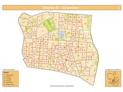 Plano 6 barrios Distrito de Chamberí de Madrid | Fuente: Dirección General de Estadística del Ayuntamiento de Madrid