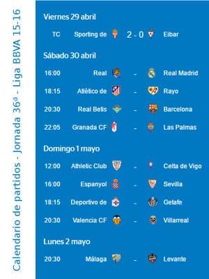 Calendario de partidos   Jornada 36ª   Liga BBVA   Temporada 2015-2016   Del 29 de abril al 2 de mayo de 2016