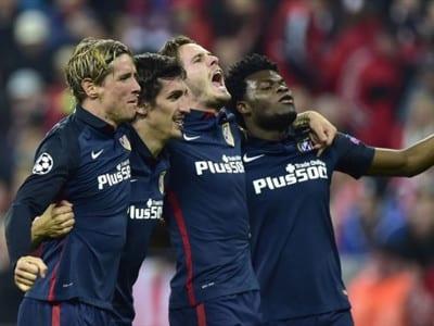 Jugadores del Atlético de Madrid celebran su pase a la final de la UEFA Champios League 2016 tras vencer al Bayern de Munich (03/05/2016)