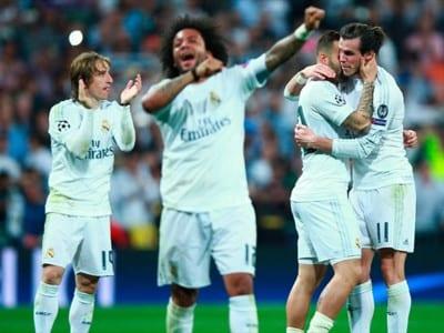 Jugadores del Real Madrid celebran su pase a la final de la UEFA Champios League 2016 tras vencer al Manchester City (04/05/2016)