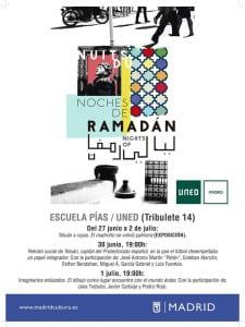 'Noches de Ramadán 2016' | Madrid | Del 21 de junio al 5 de julio de 2016 | Escuelas Pías - UNED | Lavapiés | Cartel programación | 27/06-02/07/2016