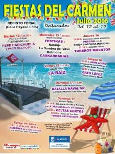 Fiestas del Carmen 2016 | Puente de Vallecas | Madrid | 12 a 17 de julio de 2016 | Cartel destacados