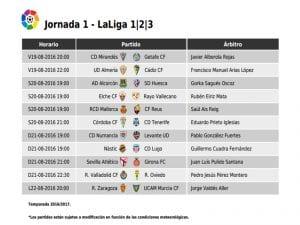 Calendario de partidos | Jornada 1ª | LaLiga 123 | 19, 20, 21 y 22/08/2016