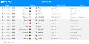 Calendario de partidos | Jornada 12ª | LaLiga 1|2|3 | 29 y 30/10/2016