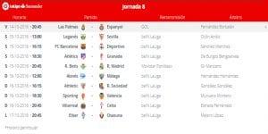 Calendario de partidos | Jornada 8ª | LaLiga Santander | 14 al 17/10/2016