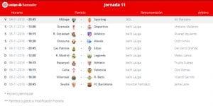 Calendario de partidos   Jornada 11ª   LaLiga Santander   04 al 06/11/2016