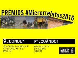 3er Concurso de Microrrelatos 'Escribir por derechos' | Amnistía Internacional Madrid 2016 | 'El derecho a la vivienda: una casa para vivir con dignidad' | Entrega de premios