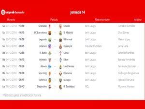 Calendario de partidos   Jornada 14ª   LaLiga Santander   03 al 05/12/2016