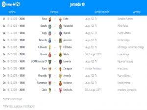 Calendario de partidos   Jornada 19ª   LaLiga 1 2 3   16 al 18/12/2016