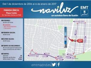 Naviluz | Bus de la Navidad 2016-2017 | Un autobús lleno de ilusión | Madrid en Navidad | Plano del recorrido