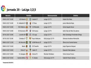 Calendario de partidos   Jornada 20ª   LaLiga 1 2 3   06 al 08/01/2017