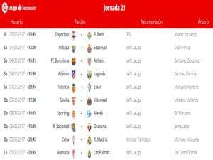 Calendario de partidos   Jornada 21ª   LaLiga Santander   03 al 06/02/2017