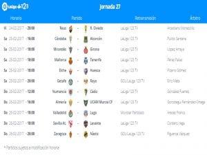 Calendario de partidos | Jornada 27ª | LaLiga 1|2|3 | 24 al 26/02/2017