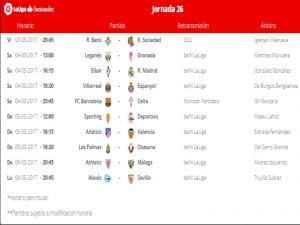 Calendario de partidos   Jornada 26ª   LaLiga Santander   03 al 06/03/2017