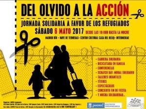 'Del olvido a la acción'   Jornada solidaria pro refugiados   Sábado 6 mayo 2017   ONG Te doy mi llave - AMPAs Arganzuela   Madrid   Cartel