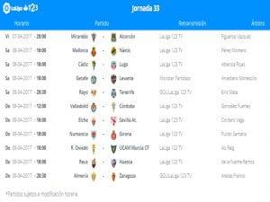 Calendario de partidos | Jornada 33ª | LaLiga 1|2|3 | 07 al 09/04/2017