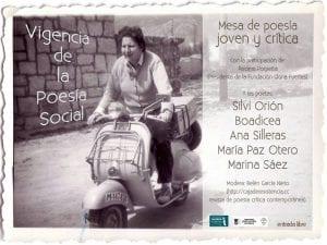'Vigencia de la poesía social'   Mesa de poesía joven y crítica   Centenario Gloria Fuertes   Fernán Gómez. Centro Cultural de la Villa   Madrid   21/04/2017   Cartel