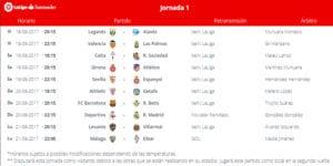 Calendario de partidos   LaLiga Santander   Jornada 1ª   18 al 21/08/2017