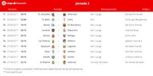 Calendario de partidos | LaLiga Santander | Jornada 2ª | 25 al 27/08/2017