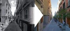 Plan de remodelación del barrio de Chueca incluye 11 calles | Vista de la calle de Hernán Cortés antes y después de la reforma