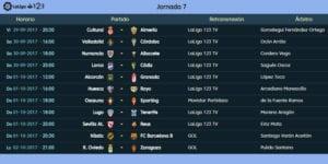 Calendario de partidos | LaLiga 1|2|3 | Jornada 7ª | 29/09 al 02/10/2017