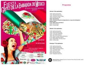 Fiesta Grito de la Embajada de México 2017   Chamartín   Madrid   15-17/09/2017   Programa