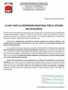 La CGT ante la represión desatada por el Estado en Catalunya | Comunicado del Secretariado Permanente del Comité Confederal | 20/09/2017