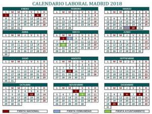 Calendario Laboral 2018   12 festivos   Ciudad de Madrid