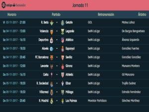 Calendario de partidos | LaLiga Santander | Jornada 11ª | Temporada 2017-2018 | 03 al 05/11/2017