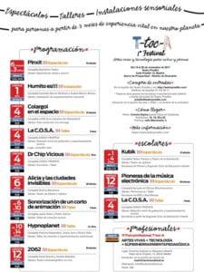 T-toc-A   1er Festival artes vivas y tecnología para niños y jóvenes   19-26/11/2017   Teatro Pradillo   Chamartín   Madrid   Programación