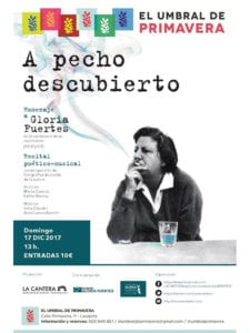 'A pecho descubierto'   Homenaje a Gloria Fuertes   Criaturas del Aire   El Umbral de Primavera   17/12/2017   Lavapiés - Madrid   Cartel
