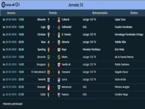 Calendario de partidos | LaLiga 1|2|3 | Jornada 32ª | Temporada 2017-2018 | 24 al 26/03/2018