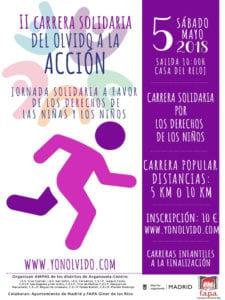 2ª Carrera Solidaria 'Del olvido a la acción' | 05/05/2018 | Arganzuela | Madrid | #yonolvido | Cartel