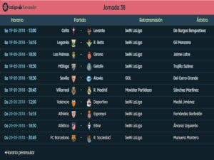 Calendario de partidos   LaLiga Santander   Jornada 38ª   Temporada 2017-2018   19 y 20/05/2018