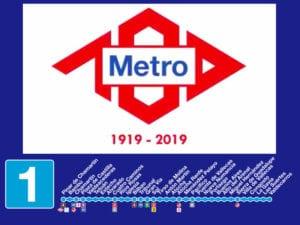 Sistema PATO se completa en línea 1 de Metro   Estaciones línea 1 y logo del centenario de Metro de Madrid (1919-2019)