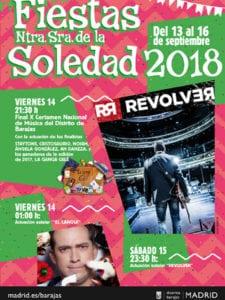 Fiestas de Barajas 2018   Nuestra Señora de la Soledad   13-16/09/2018   Barajas   Madrid   Cartel conciertos destacados