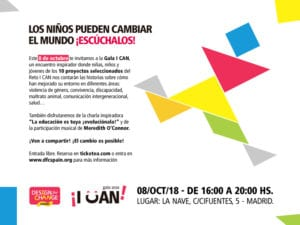 Gala I Can 2018 de Design For Change España | La Nave | Villaverde | Madrid | 08/10/2018 | Invitación