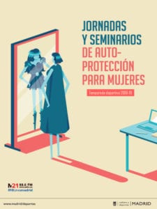 Jornadas y Seminarios de Autoprotección para Mujeres   Temporada 2018-2019   Ayuntamiento de Madrid - Federación Madrileña de Lucha   Cartel